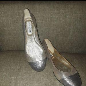 Jimmy Choo Silver Toe Ballerina Flats